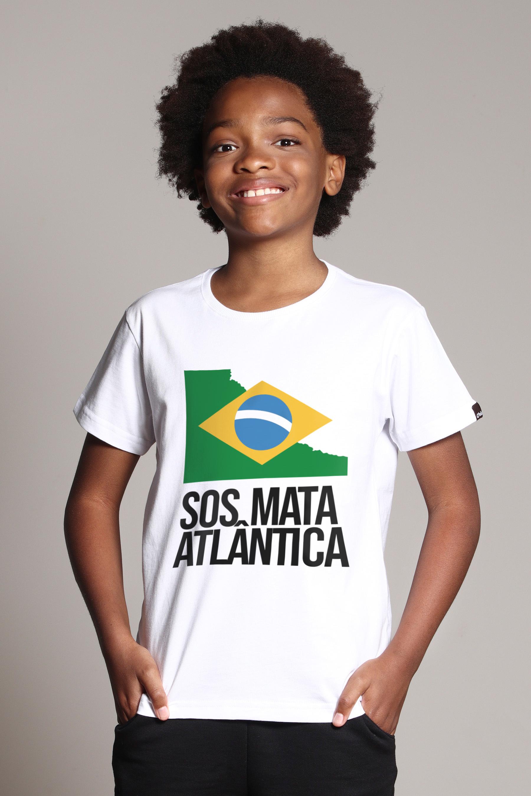 Camiseta Infantil SOS Mata Atlântica Branca