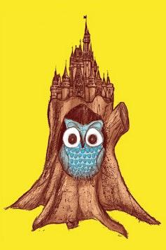 Estampa Camiseta Infantil Castelo Coruja