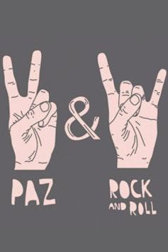 Estampa Camiseta Infantil Paz e Rock