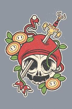 Estampa Camiseta Mario Tattoo