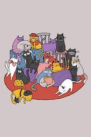 Estampa Camiseta Dezoito Gatos