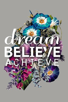 Estampa Camiseta Dream, believe, achieve
