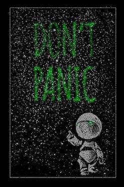 Camiseta Don't Panic R$69,90   4x de R$17,48