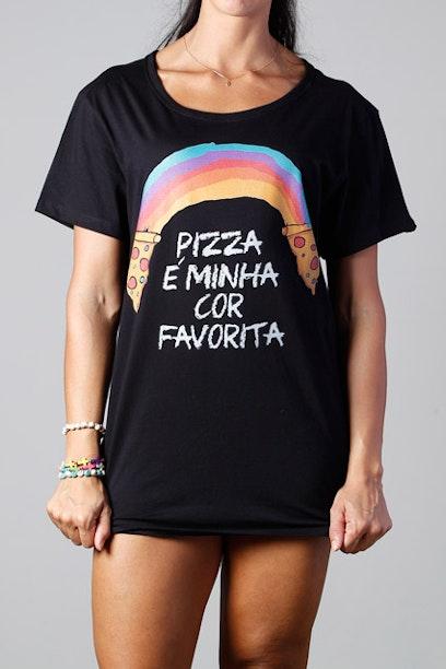 Camiseta Long Rainbow Pizza