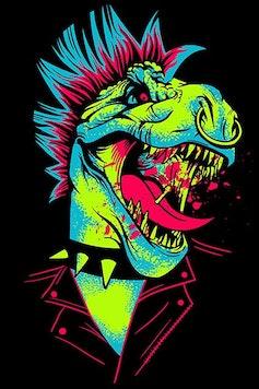 Estampa Camiseta Dinossauro do Rock