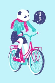 Estampa Manga Longa Panda Bike