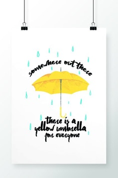 Poster Yellow Umbrella
